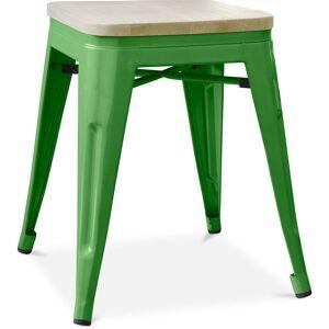 PRIVATEFLOOR Tabouret style Tolix - 46 cm - Métal et bois clair Vert - Publicité