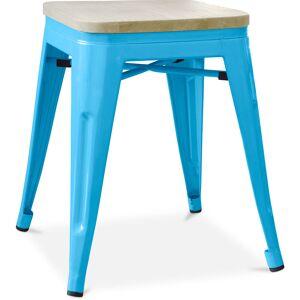 PRIVATEFLOOR Tabouret style Tolix - 46 cm - Métal et bois clair Turquoise - Publicité