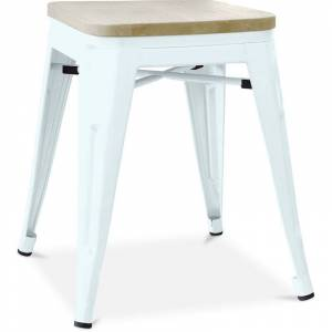PRIVATEFLOOR Tabouret style Tolix - 46 cm - Métal et bois clair Bleu gris - Publicité