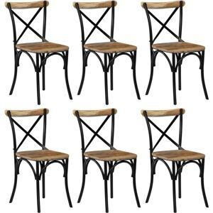 VIDAXL Chaises de Salle à Manger 6 pcs Noir Bois de Manguier Massif - VIDAXL - Publicité