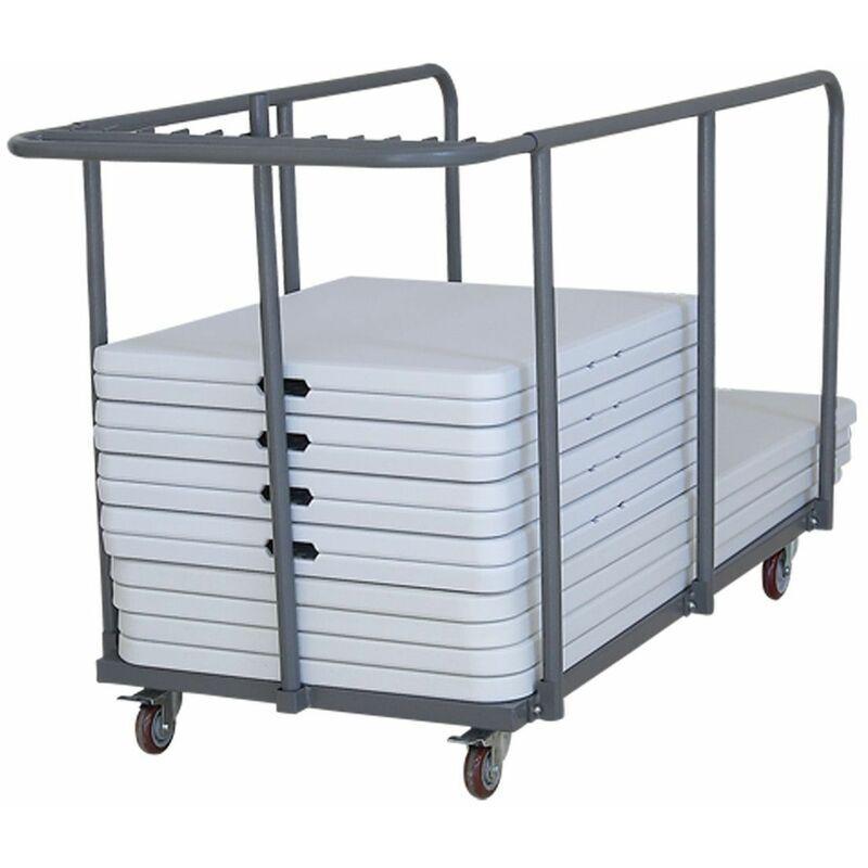 REKKEM 18 tables pliantes 180 cm et chariot de transport