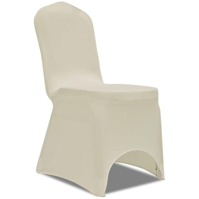 Topdeal VDTD00251_FR 50 housses de chaise extensibles crème