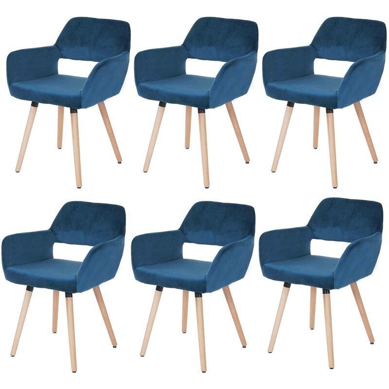 HHG 6x Chaise de salle à manger 429 II, rétro ~ velours, bleu pétrole - HHG