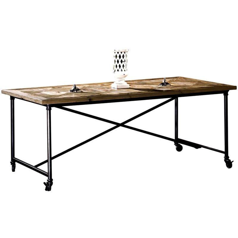 GUARNIERI Ancienne table en pin et fer sur roulett cm 200x100x78 Guarnieri Tiglio