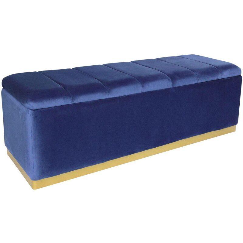 Cotecosy - Banc coffre Alexandrie Velours Bleu Pied Or - Bleu