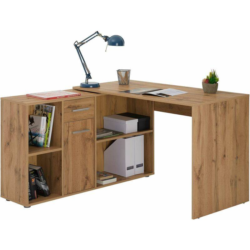IDIMEX Bureau d'angle CARMEN table avec meuble de rangement intégré et