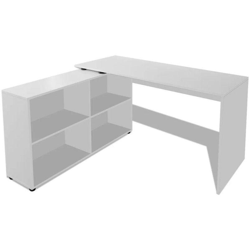 HELLOSHOP26 Bureau table meuble travail informatique d'angle 4 étagères blanc