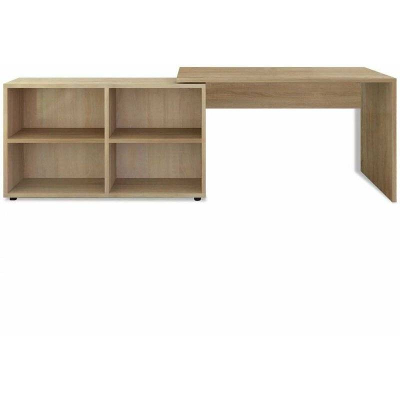 HELLOSHOP26 Bureau table meuble travail informatique d'angle 4 étagères chêne - Or