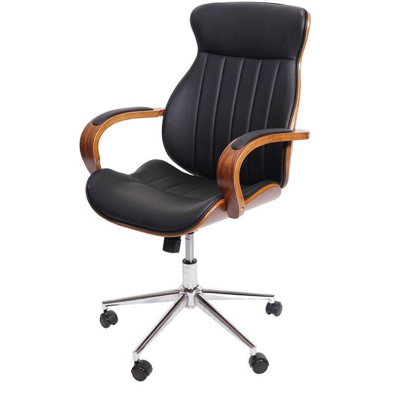 HHG Chaise de bureau HHG-333, pivotante, fauteuil, bois courbé, aspect