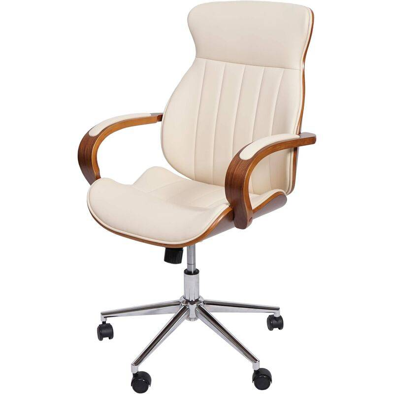 HHG Chaise de bureau 333, pivotante, fauteuil, bois courbé, aspect noyer,