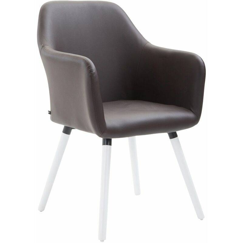 PAAL OFFICE FURNITURE Chaise de salle à manger Picard V2 similicuir marron Blanc - PAAL