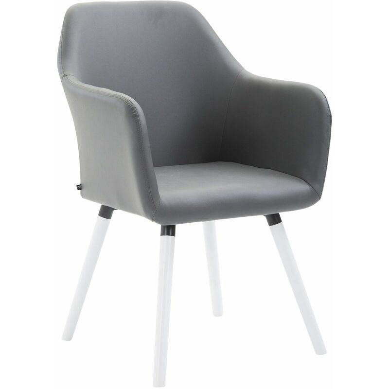 PAAL OFFICE FURNITURE Chaise de salle à manger Picard V2 similicuir gris Blanc - PAAL OFFICE