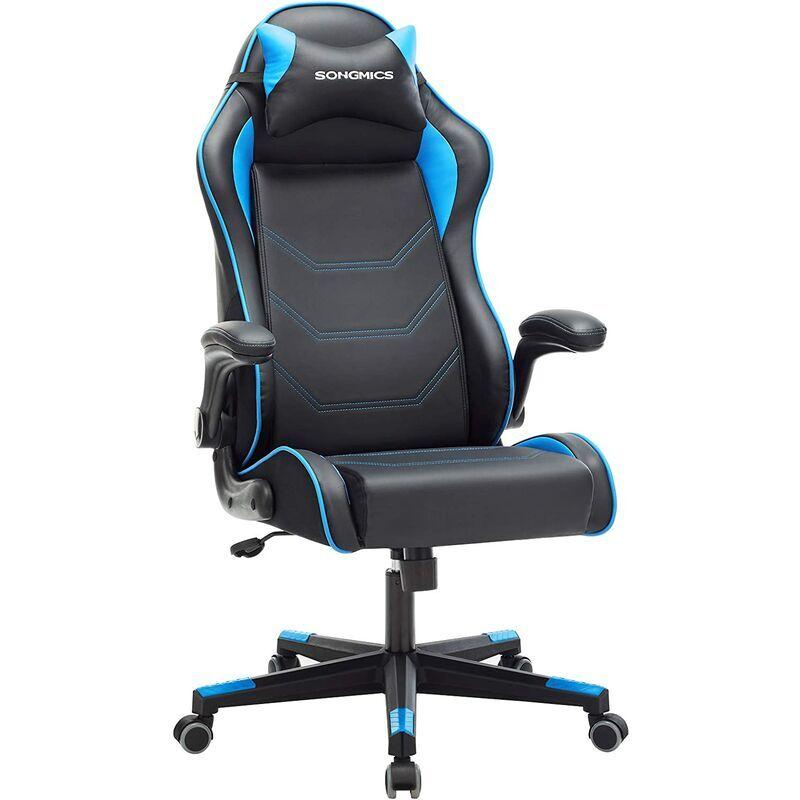SONGMICS Fauteuil gamer, Chaise racing ergonomique, Siège de bureau pivotant,