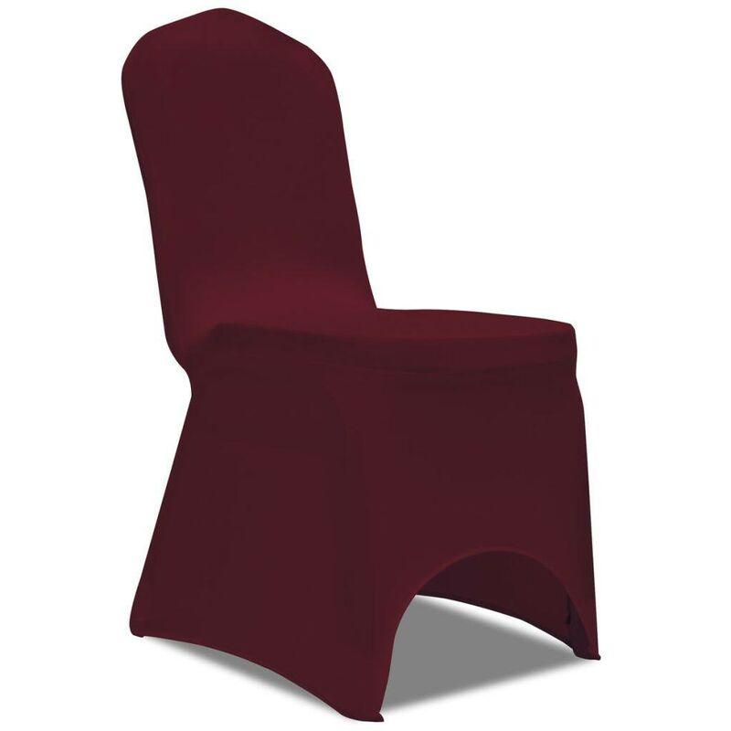 Hommoo Housse de chaise extensible 100 pcs Bordeaux HDV17738