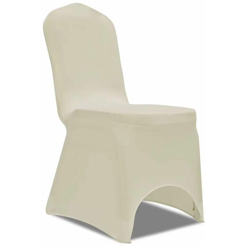 Hommoo Housse de chaise extensible 100 pcs Couleur crème HDV17739