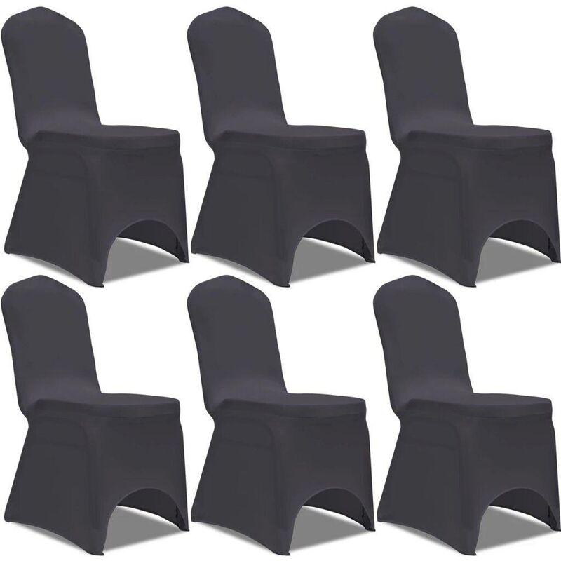 Hommoo Housse de chaise extensible 6 pcs anthracite HDV00910