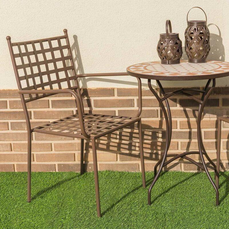 Homemaison - Lot de 4 chaises à accoudoirs en fer forgé Oxydé 56.00 cm