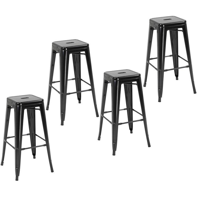 Homcom - Lot de 4 tabourets de bar industriel empilables hauteur assise