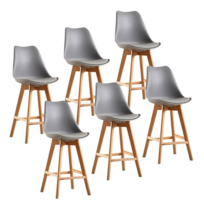 WYCTIN Lot de 6 Chaises Hautes Gris Tabouret de Bar Cuisine Hauteur d'assise :
