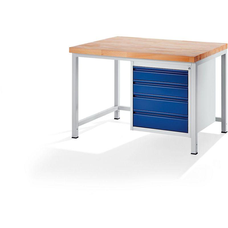RAU Etabli, stable - 4 tiroirs taille L - profondeur 900 mm, largeur 1250