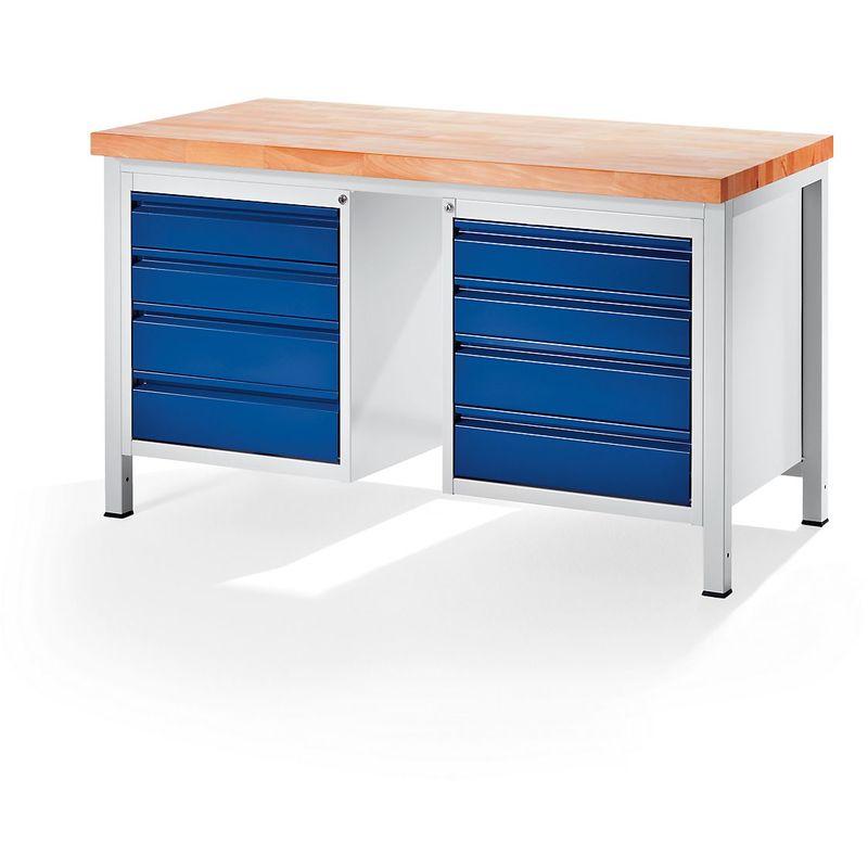 RAU Etabli, stable - 8 tiroirs taille L - profondeur 700 mm, largeur 1500
