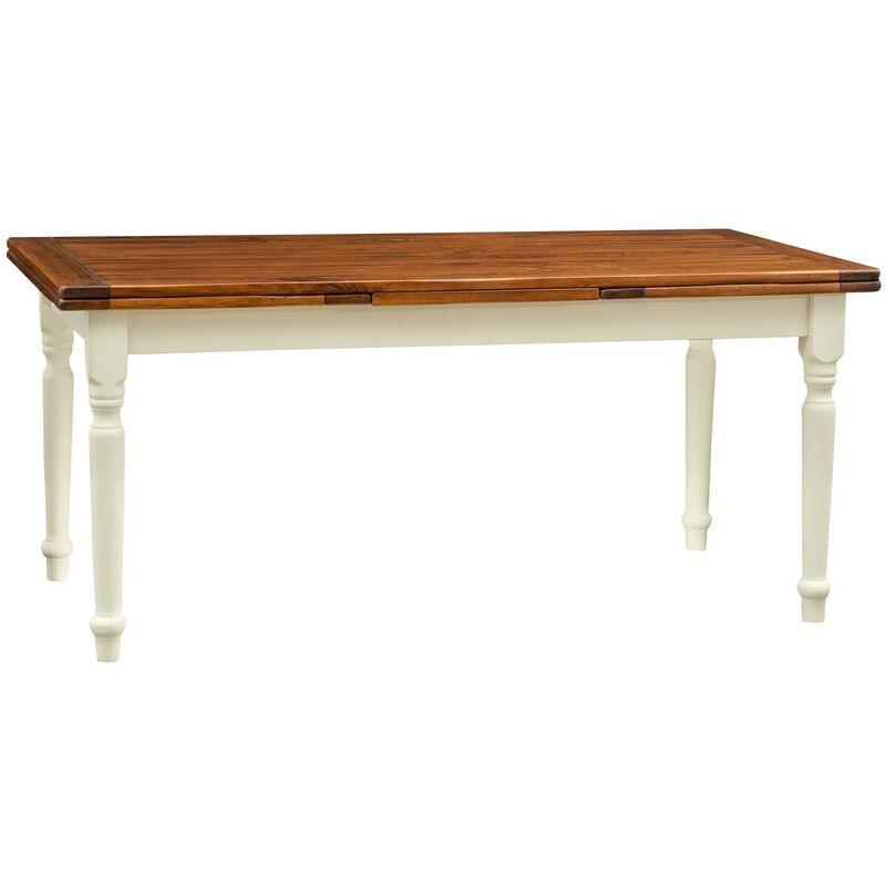 BISCOTTINI Table à rallonge champêtre en bois massif structure chaux sur plan en
