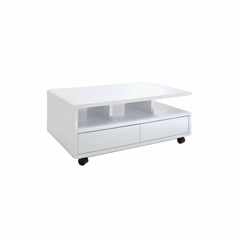 Inside75 - Table basse CHARTRES sur roulettes laquée blanc brillant