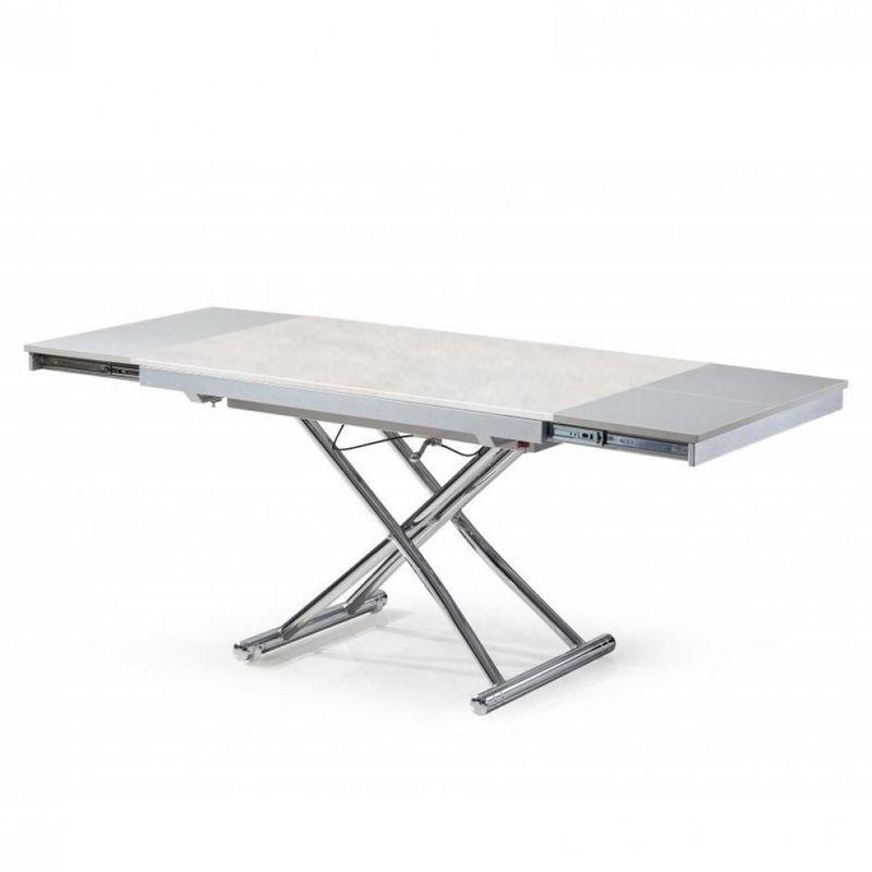 INSIDE75 Table basse extensible relevable JUMP plateau en céramique collé sur