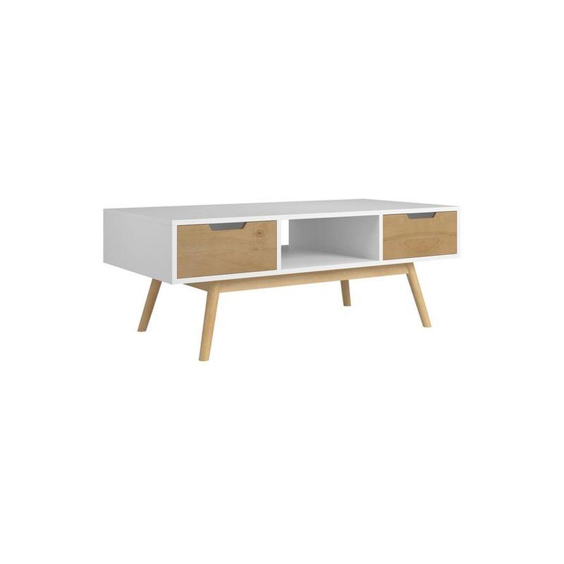 VS VENTA-STOCK TABLE basse JAVA 2 tiroirs et une niche blanc et ciré - VS VENTA-STOCK