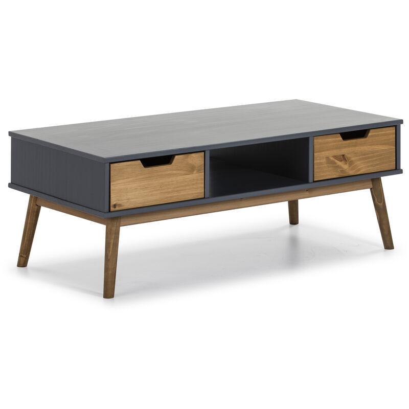 VS VENTA-STOCK TABLE basse JAVA 2 tiroirs et une niche gris et ciré - VS VENTA-STOCK