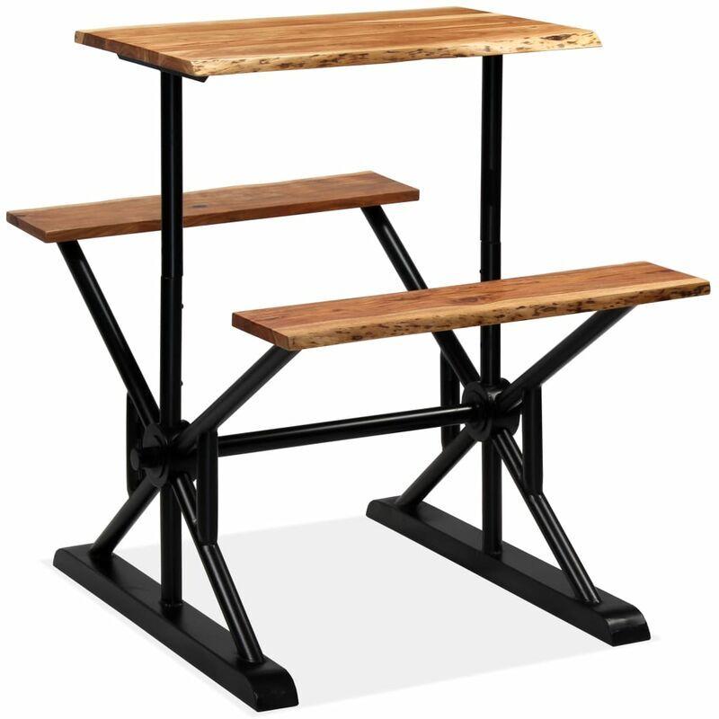 VIDAXL Table de bar avec bancs Bois massif d'acacia 80 x 50 x 107 cm