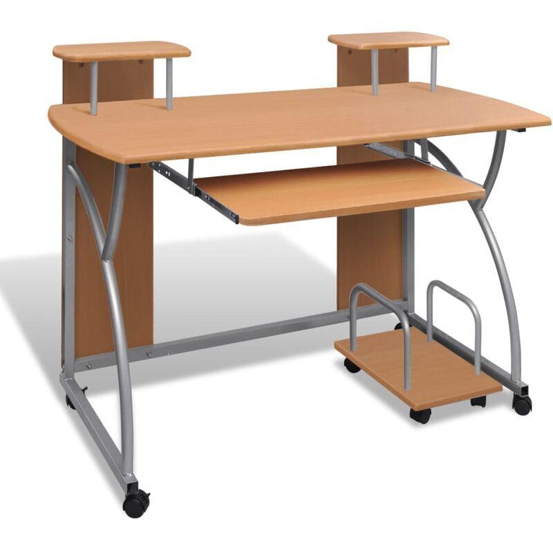 Youthup - Table de Bureau Brune pour Ordinateur avec étagère