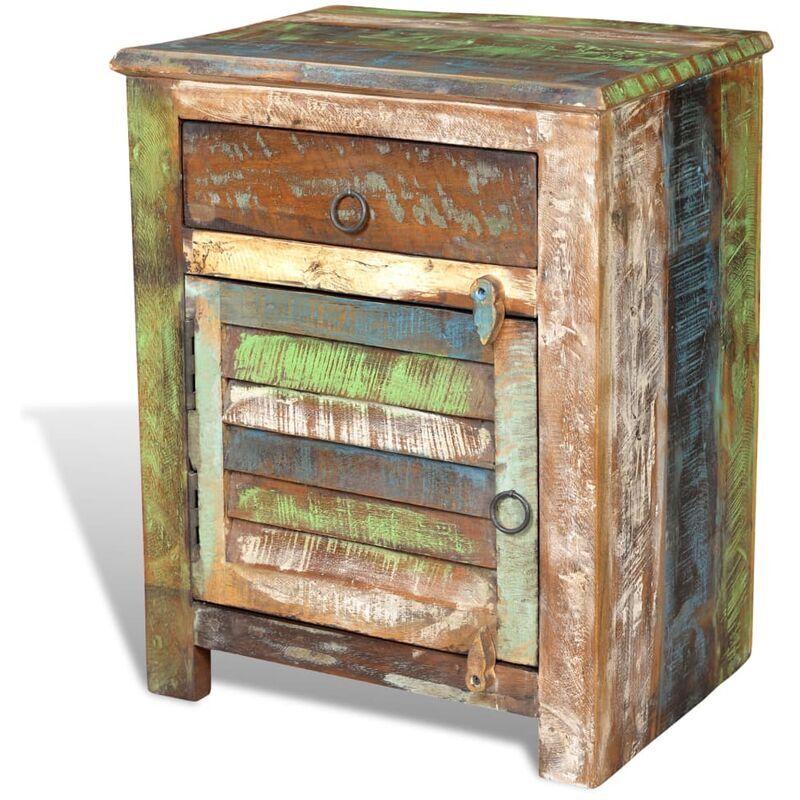 Zqyrlar - Table de coin avec 1 tiroir et 1 porte Bois de récupération