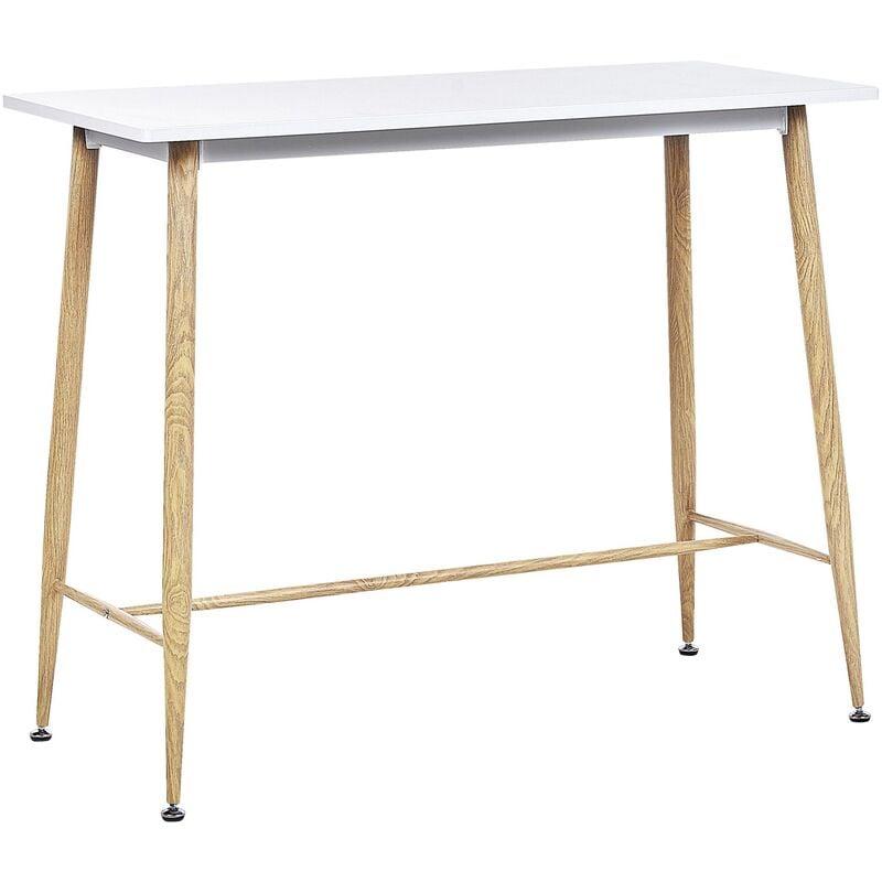 BELIANI Table mange debout blanche / effet bois clair 90 x 50 cm CHAVES