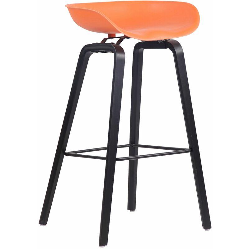 CLP Tabouret de bar Anaheim avec assise en plastique et 4 pieds orange Noir