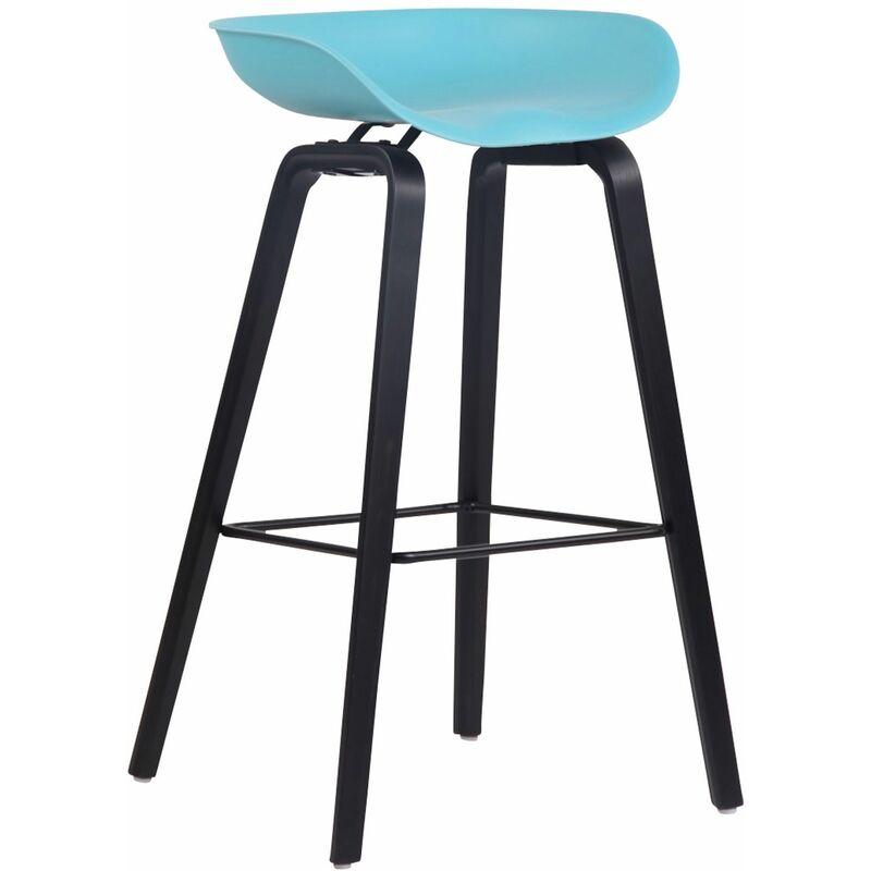 CLP Tabouret de bar Anaheim avec assise en plastique et 4 pieds bleu Noir