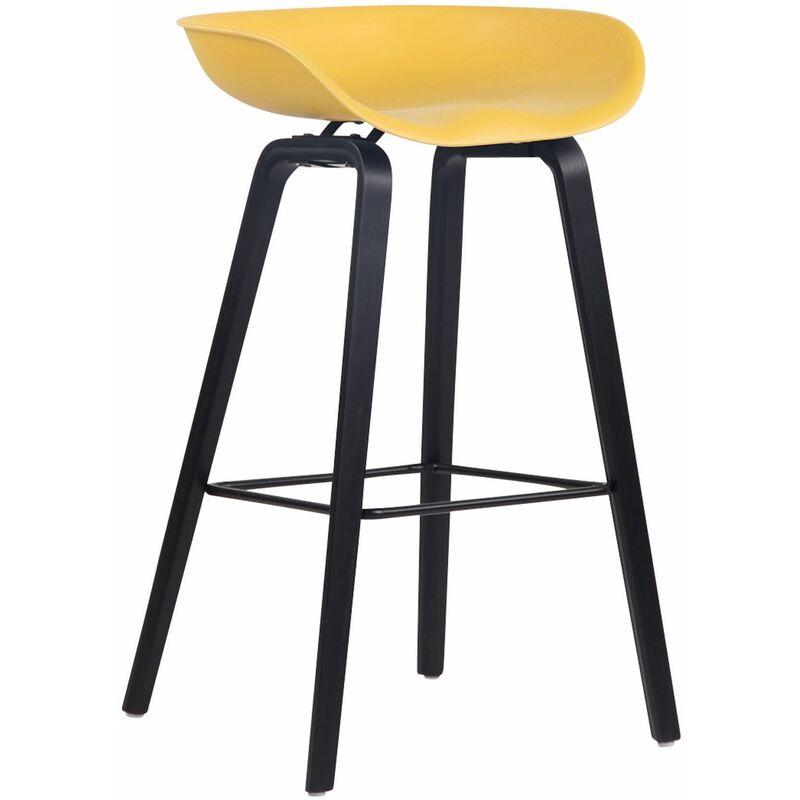 CLP Tabouret de bar Anaheim avec assise en plastique et 4 pieds jaune Noir
