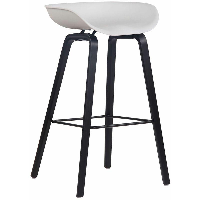 CLP Tabouret de bar Anaheim avec assise en plastique et 4 pieds blanc Noir