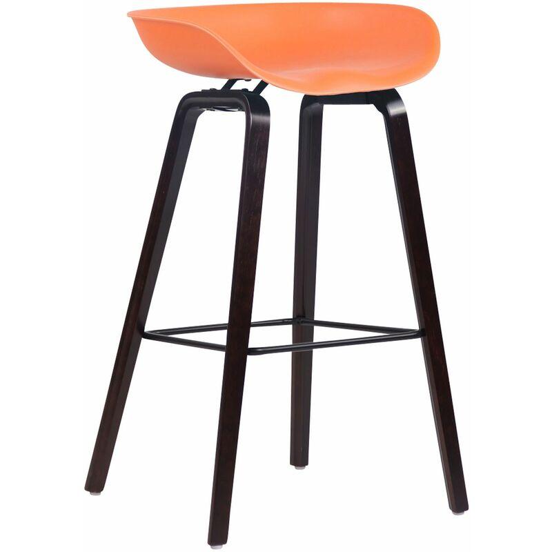 CLP Tabouret de bar Anaheim avec assise en plastique et 4 pieds orange Noix