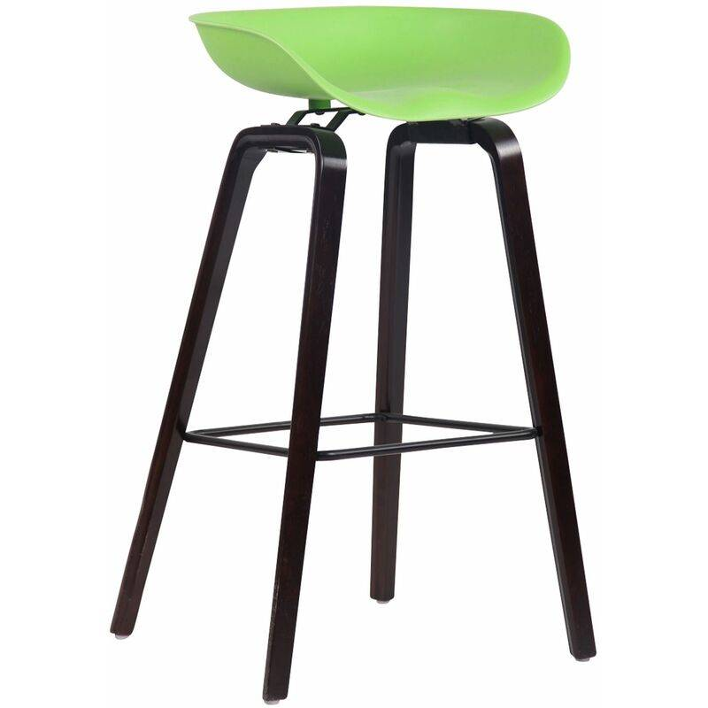CLP Tabouret de bar Anaheim avec assise en plastique et 4 pieds vert Noix