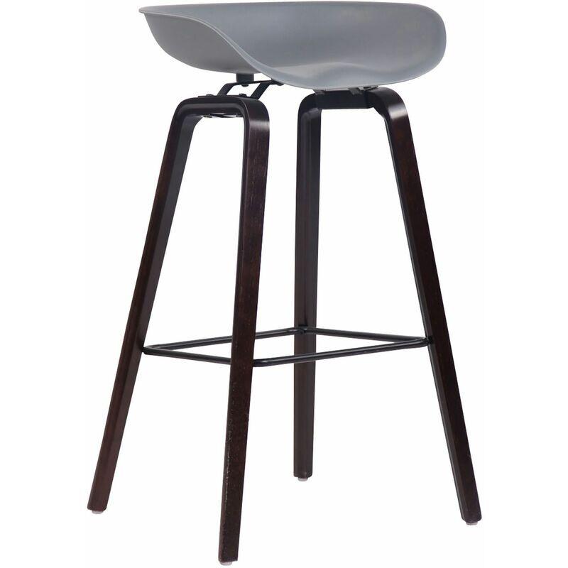 CLP Tabouret de bar Anaheim avec assise en plastique et 4 pieds gris Noix