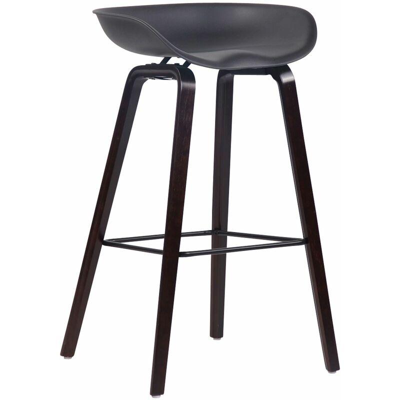 CLP Tabouret de bar Anaheim avec assise en plastique et 4 pieds noir Noix