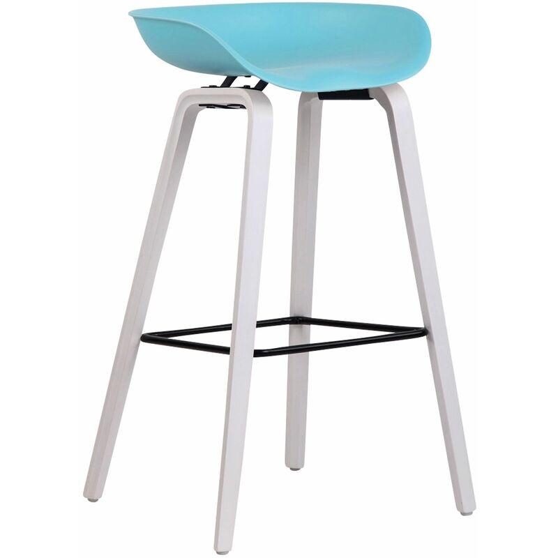 CLP Tabouret de bar Anaheim avec assise en plastique et 4 pieds bleu Blanc