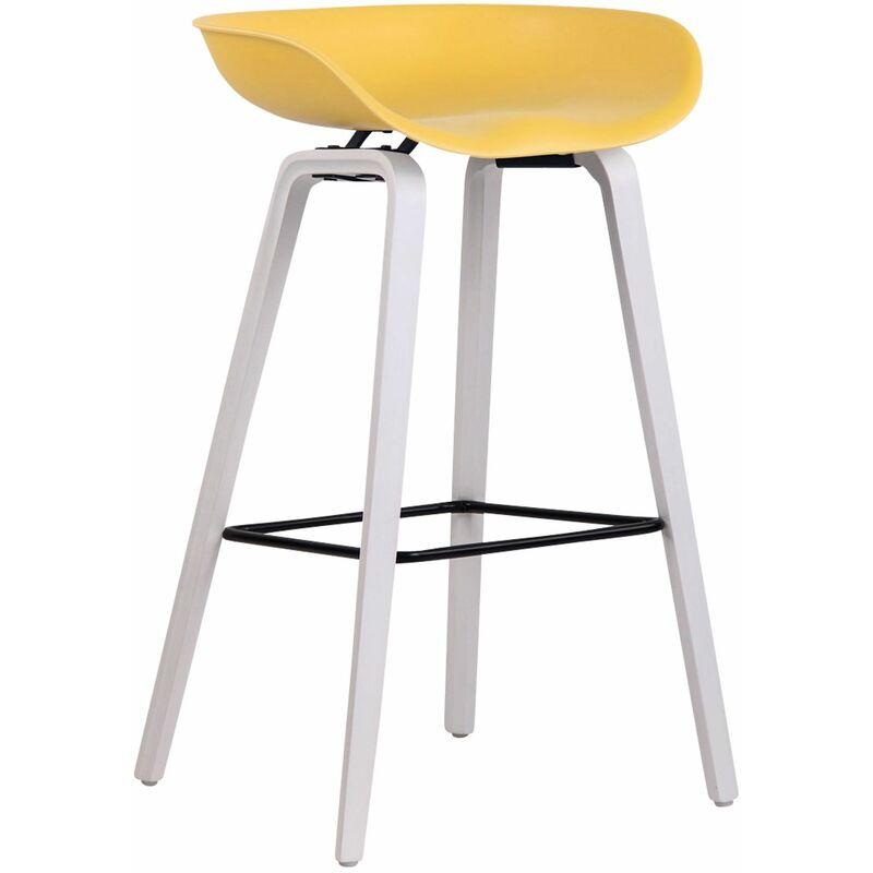 CLP Tabouret de bar Anaheim avec assise en plastique et 4 pieds jaune Blanc