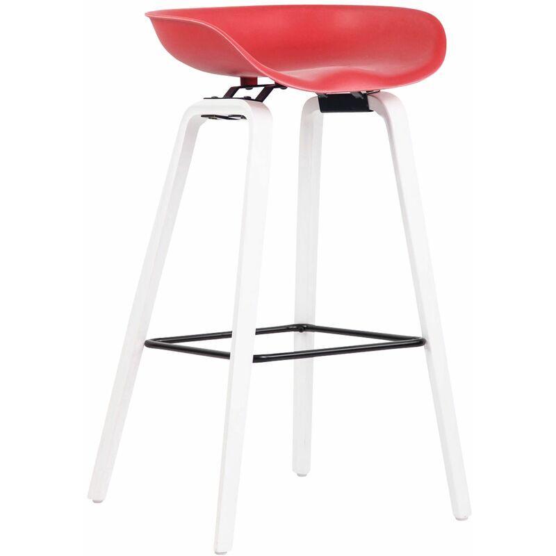 CLP Tabouret de bar Anaheim avec assise en plastique et 4 pieds rouge Blanc