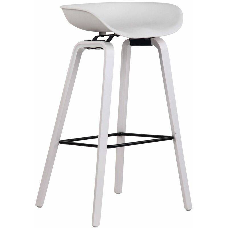 CLP Tabouret de bar Anaheim avec assise en plastique et 4 pieds blanc Blanc