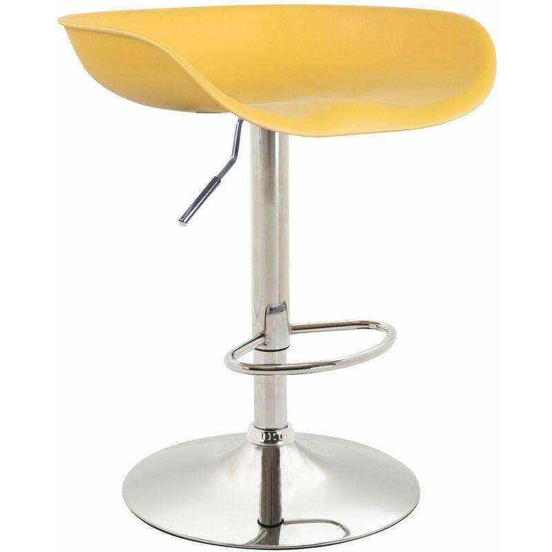 CLP Tabouret de bar Anaheim avec assise en plastique et Pied Tulipe jaune