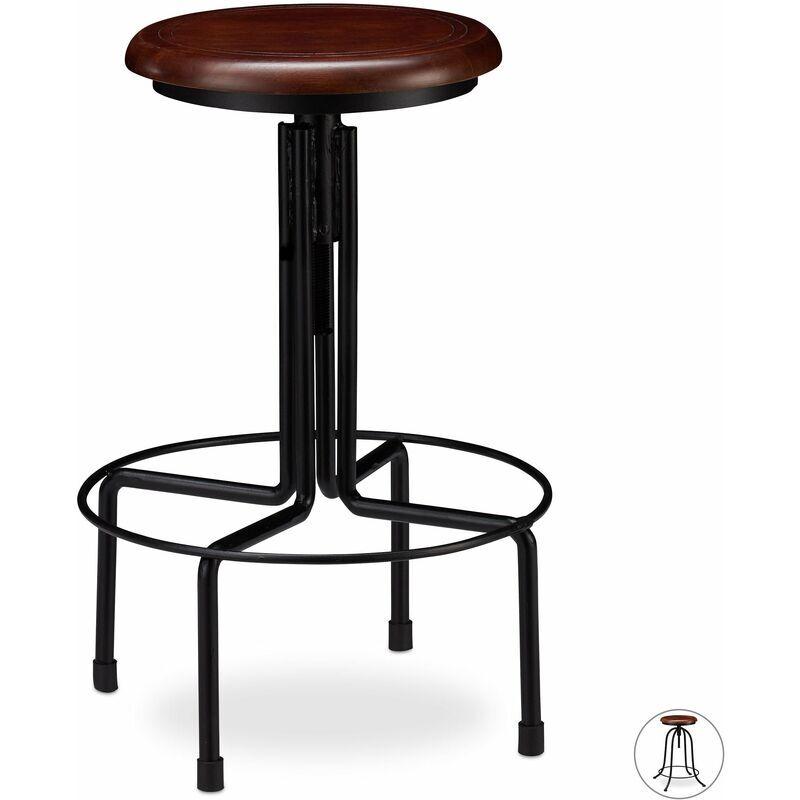 HELLOSHOP26 Tabouret de bar industriel chaise ronde hauteur réglable jusqu à 65 cm