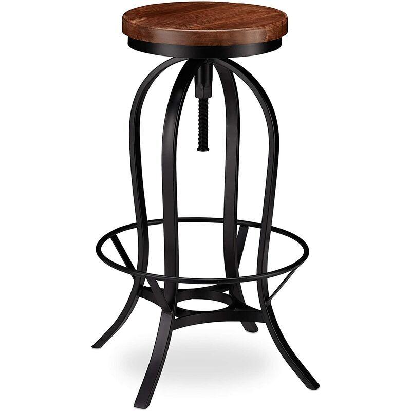 HELLOSHOP26 Tabouret de bar industriel design industriel pivotant chaise ronde fer