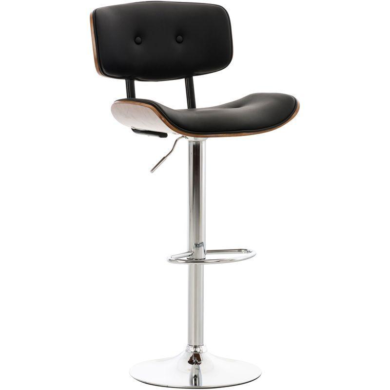 CLP Tabouret de bar Sarnia avec assise en bois et revêtement en similicuir